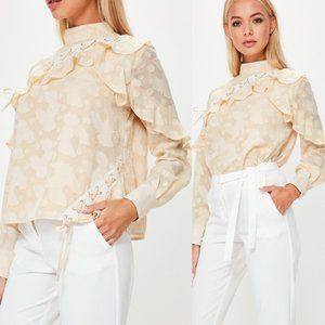Missguided | Nude Lace Up High Collar Blouse